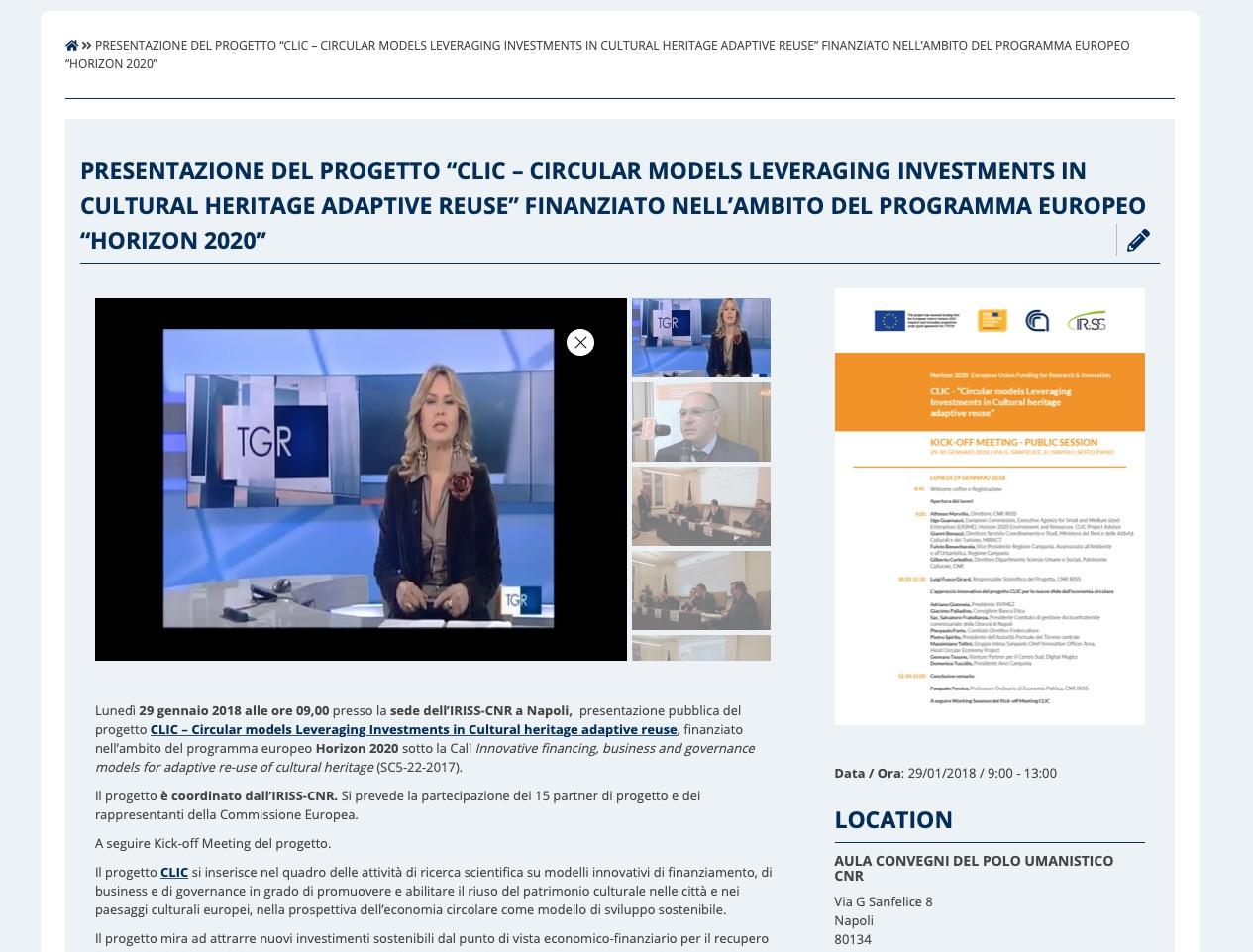 """Presentazione del progetto """"CLIC – Circular models Leveraging Investments in Cultural heritage adaptive reuse"""" finanziato nell'ambito del programma europeo """"Horizon 2020"""""""