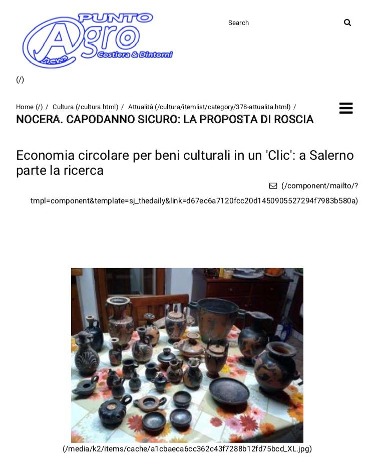 Economia circolare per beni culturali in un 'Clic': a Salerno parte la ricerca
