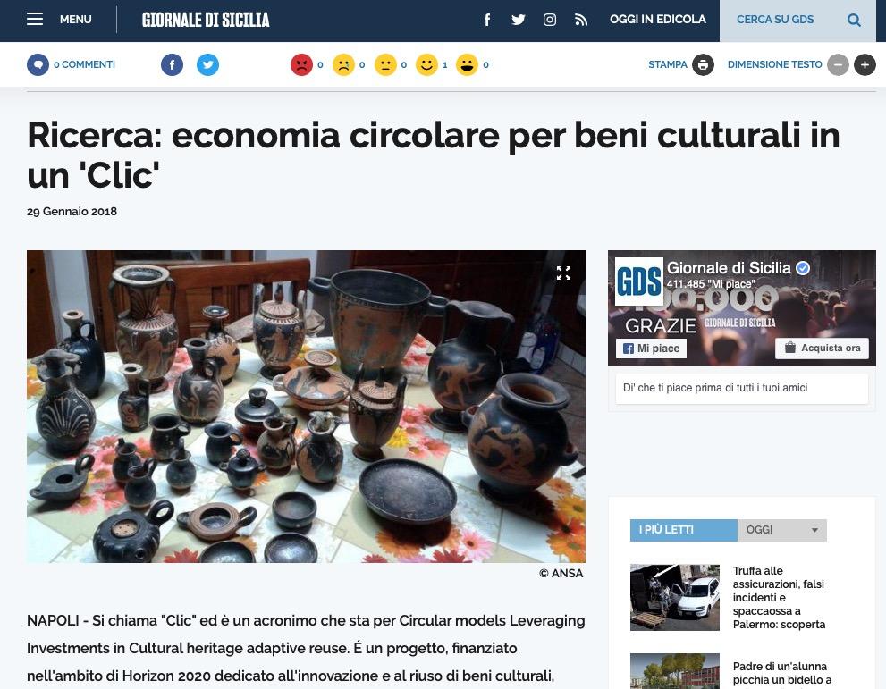 Ricerca: economia circolare per beni culturali in un 'Clic'