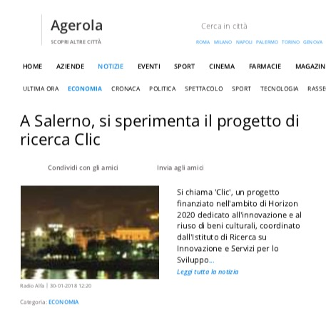A Salerno, si sperimenta il progetto di ricerca Clic