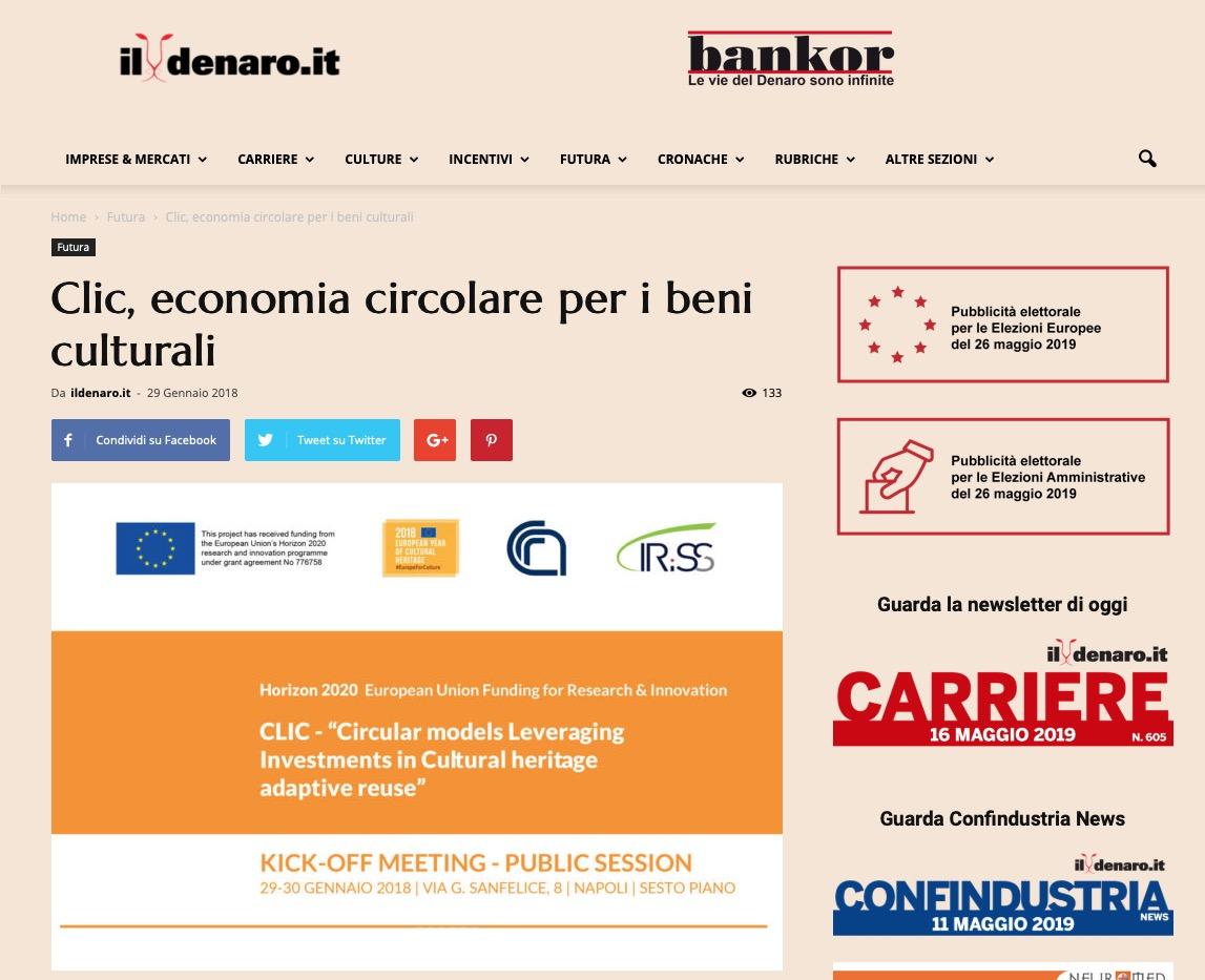 Clic, economia circolare per i beni culturali