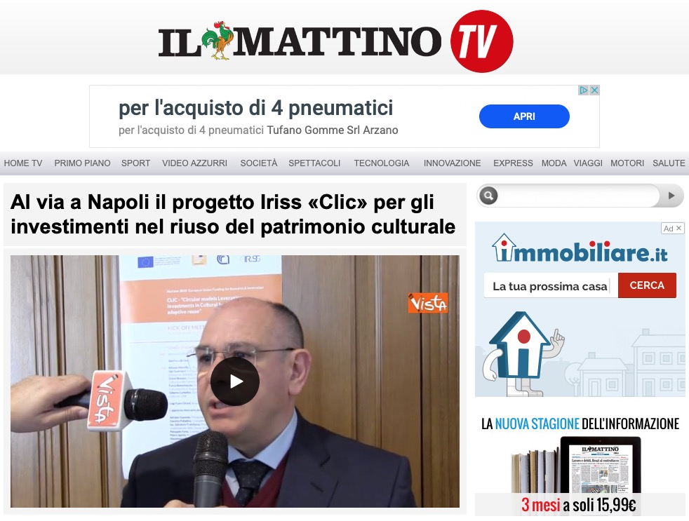 Al via a Napoli il progetto Iriss «Clic» per gli investimenti nel riuso del patrimonio culturale