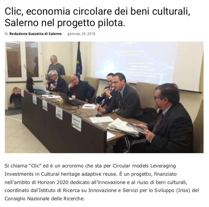Clic, economia circolare dei beni culturali, Salerno nel progetto pilota