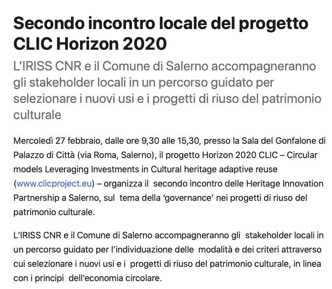 Secondo incontro locale del progetto CLIC Horizon 2020