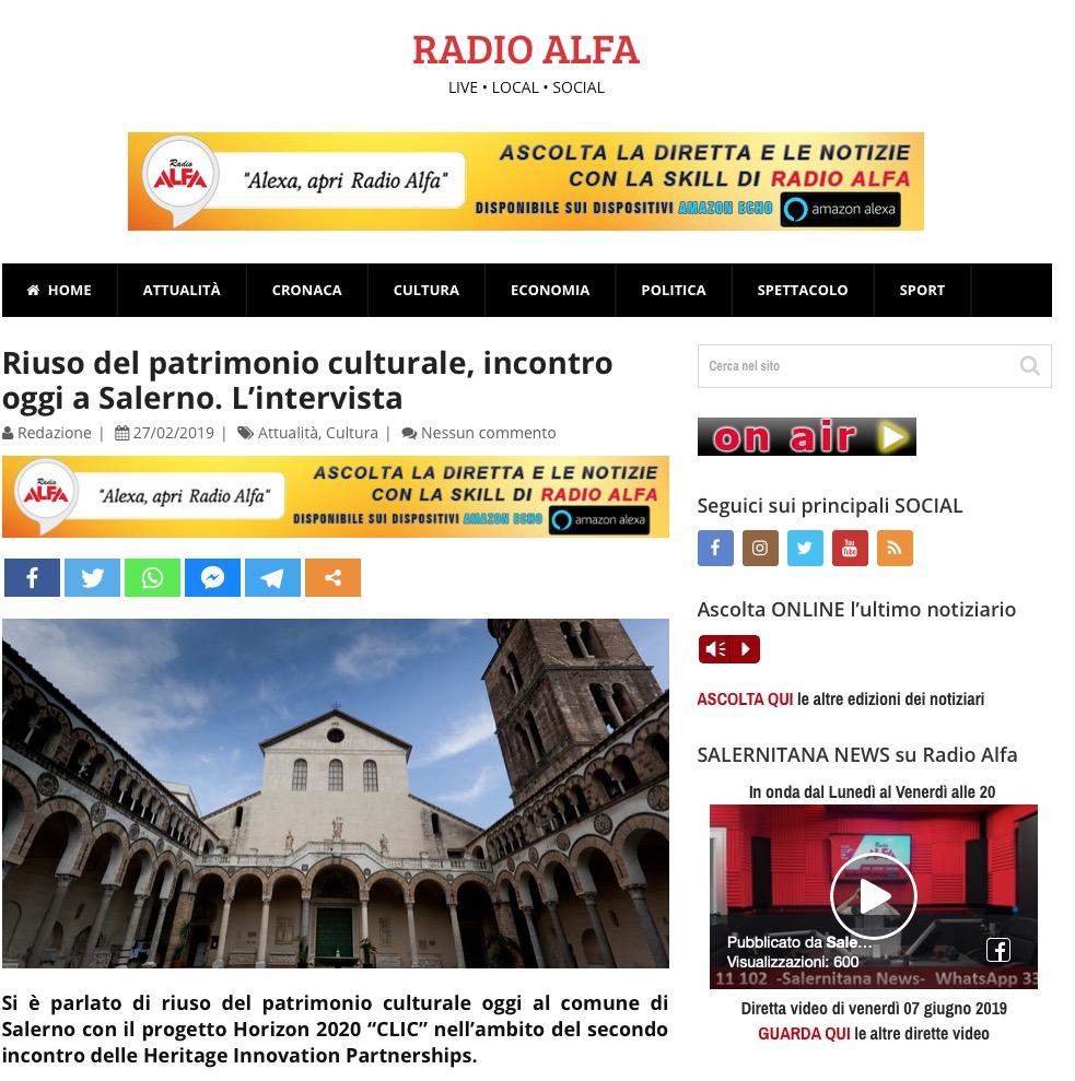 Riuso del patrimonio culturale, incontro oggi a Salerno. L'intervista