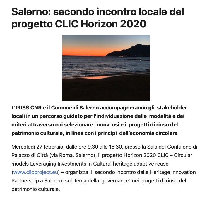 Salerno: secondo incontro locale del progetto CLIC Horizon 2020