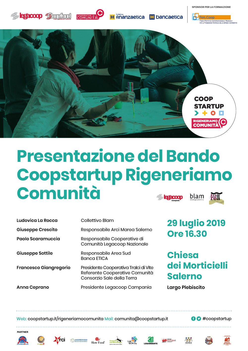 "Public presentation of the ""Coopstartup Regeneriamo comunità"""