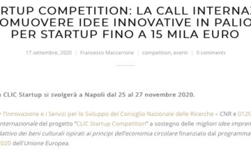 CLIC Startup Competition: la call internazionale per promuovere idee innovative in palio premi per startup fino a 15 mila euro