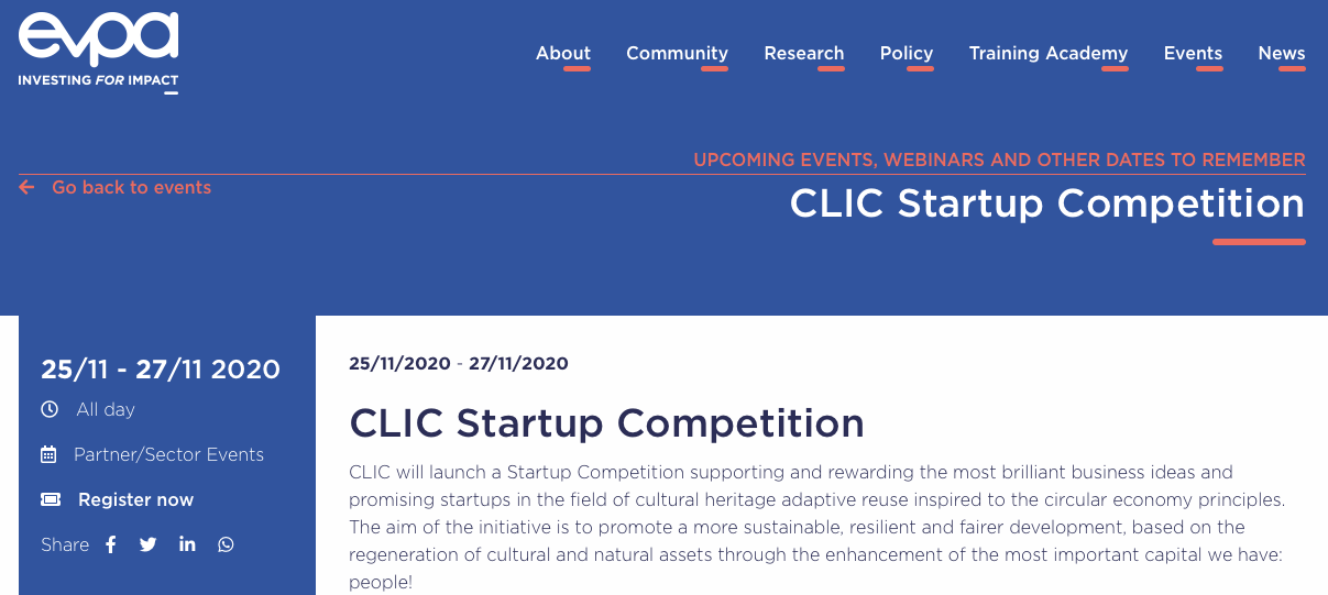 EVPA – CLIC Startup Competition