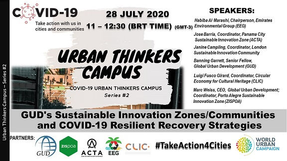 "CLIC Participation at UN-Habitat World Urban Campaign COVID-19 Urban Thinkers Campus #3 ""GUD's Sustainable Innovation Zones/Communities and COVID-19 Resilient Recovery Strategies"""